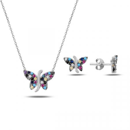 Set argint 925 rodiat cu fluturi si zirconii multicolore - Be Nature STU0047
