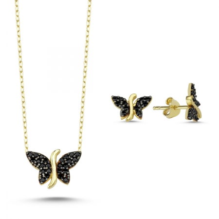 Set argint 925 aurit cu fluturi si zirconii negre - Be Nature STU0037