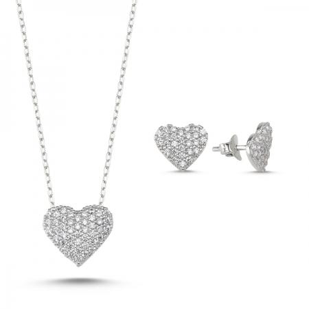 Set argint 925 rodiat cu inimioare zirconii albe - Be in Love STU0025