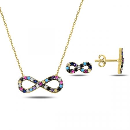 Set argint 925 aurit cu simbolul infinit si zirconii multicolore - Infinite You STU0045