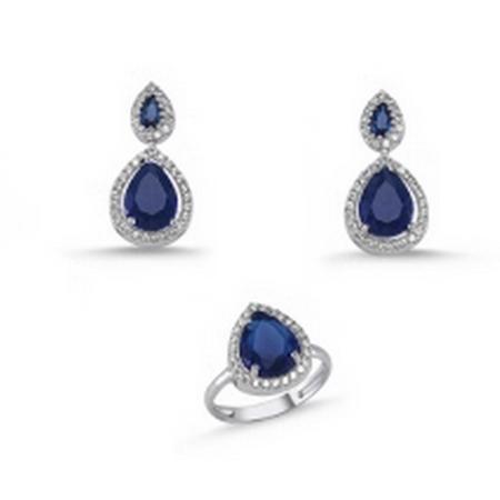 Set argint 925 rodiat cu zirconii albe si albastre - Be Elegant STU0031