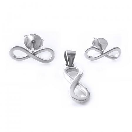 Set argint 925 rodiat cu simbolul infinit SET04651
