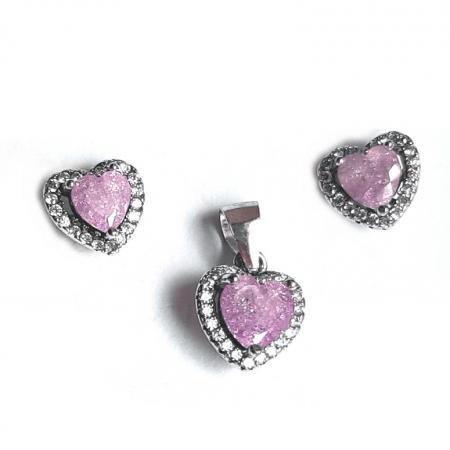 Set argint 925 rodiat inimioare cu zirconii mov SET0418