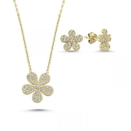 Set argint colier si cercei cu flori si zirconii albe placat cu aur galben - STU0035