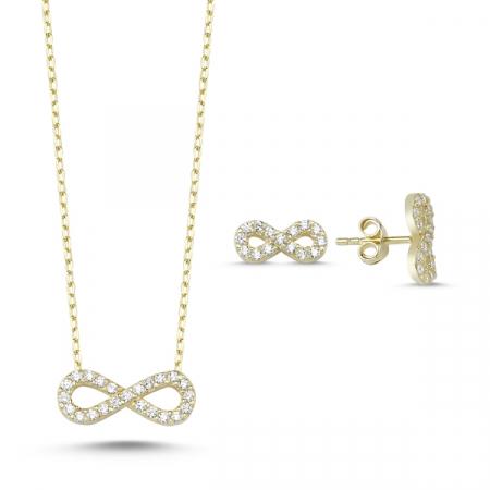 Set argint colier si cercei cu infinit si zirconii albe placat cu aur galben - STU0034