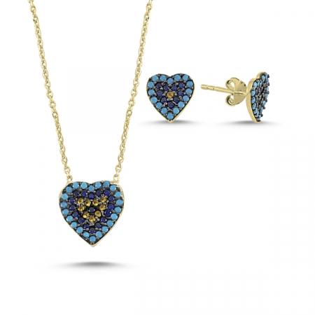 Set argint colier si cercei cu inima si zirconii multicolore placat cu aur galben - STU0036