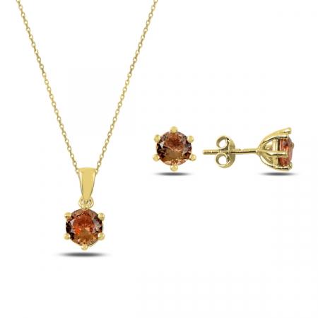 Set argint colier si cercei cu pietre rotunde de zultanit, placat cu aur - STU0043
