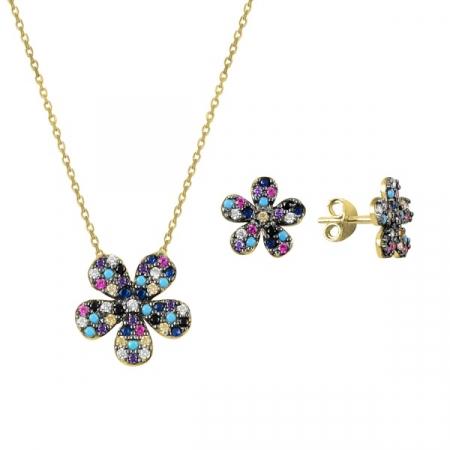 Set argint placat cu aur cu flori de cristale