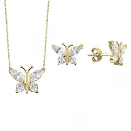 Set argint placat cu aur cu fluturasi de cristale