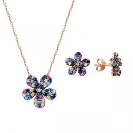 Set argint placat cu aur roz cu flori de cristale