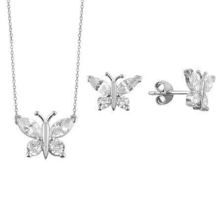 Set argint placat cu rodiu cu fluturasi de cristale