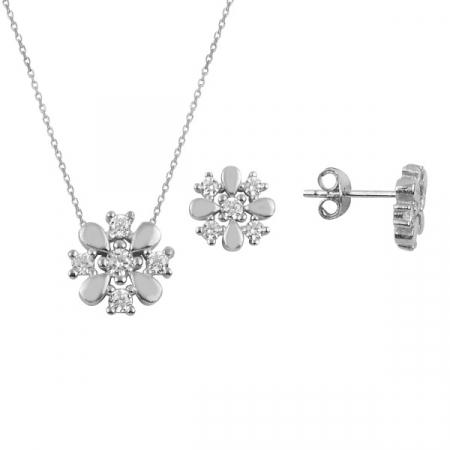 Set argint placat cu rodiu cu fulgi de zapada si cristale