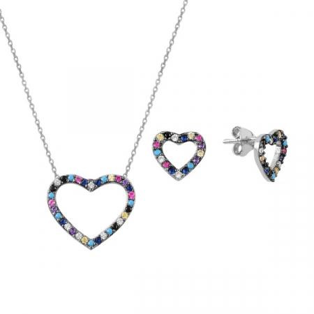 Set argint placat cu rodiu cu inimioare de cristale