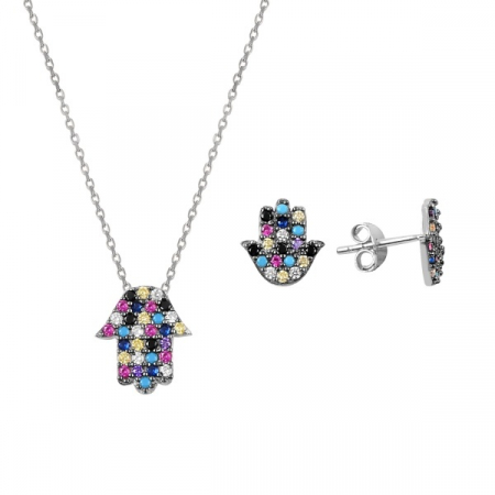 Set argint placat cu rodiu, cu Mana lui Fatima (Hamsa) si cristale