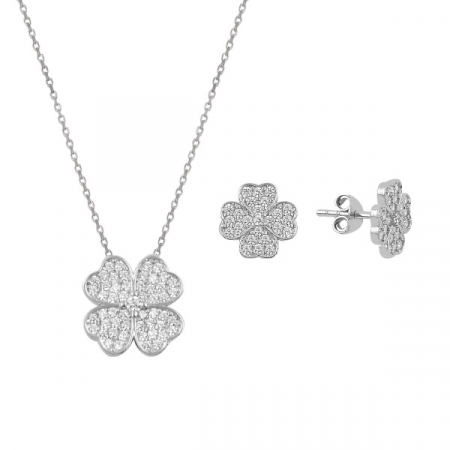 Set argint placat cu rodiu cu trifoi cu patru foi si cristale