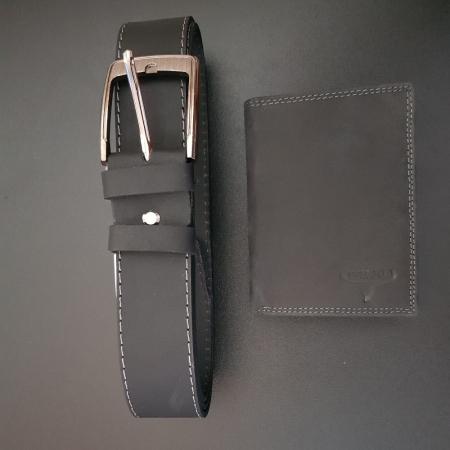 Set cadou barbati Wild BuffalO, portofel si curea din piele naturala, PORMG90012