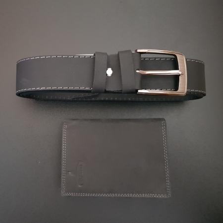 Set cadou barbati Wild BuffalO, portofel si curea din piele naturala, PORMG90015