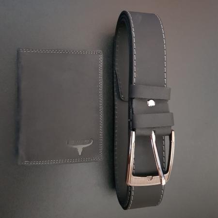 Set cadou barbati Wild BuffalO, portofel si curea din piele naturala, PORMG90018