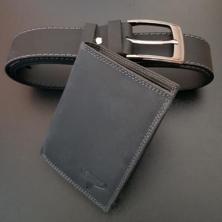 Set cadou barbati Wild BuffalO, portofel si curea din piele naturala, PORMG9001
