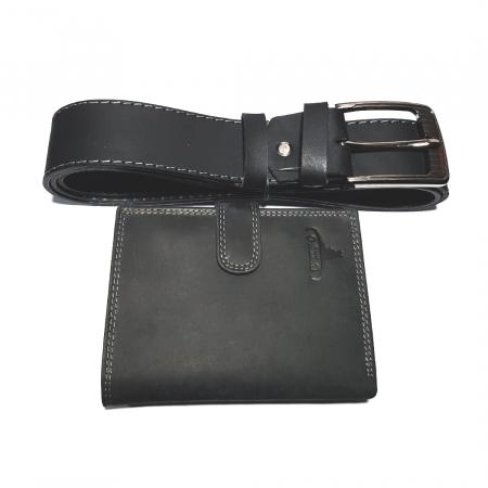 Set cadou barbati Wild BuffalO, portofel si curea din piele naturala, PORMG901