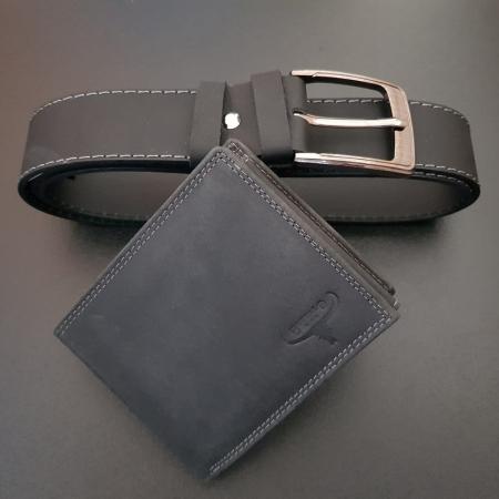 Set cadou barbati Wild BuffalO, portofel si curea din piele naturala, PORMG90215
