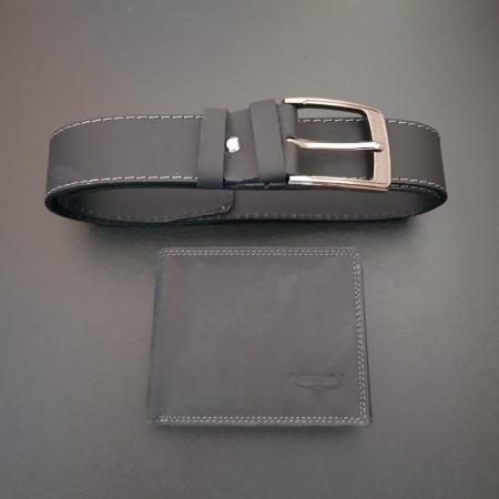 Set cadou barbati Wild BuffalO, portofel si curea din piele naturala, PORMG9021