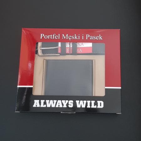 Set cadou barbati Wild BuffalO, portofel si curea din piele naturala, PORMG90210