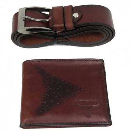 Set cadou barbati (portofel + curea) din piele naturala Wild PORM802