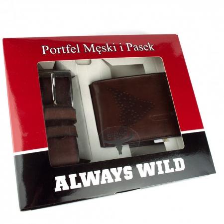 Set cadou barbati (portofel + curea) din piele naturala Wild PORM8029