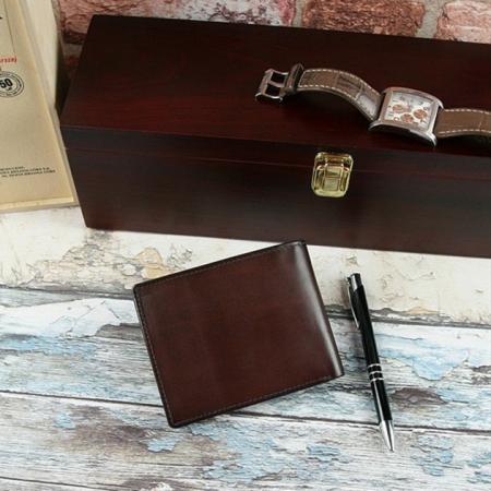 Set cadou barbati (portofel + curea) din piele naturala Wild PORM8025