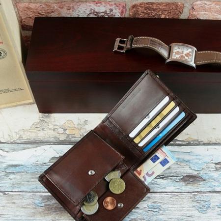 Set cadou barbati (portofel + curea) din piele naturala Wild PORM8023