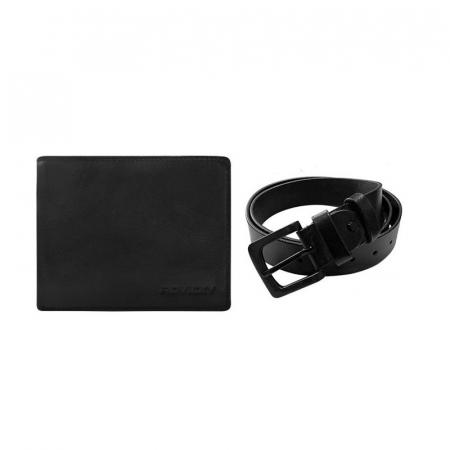 Set cadou barbati, portofel si curea din piele naturala, Rovicky, PORMG904, cu RFID