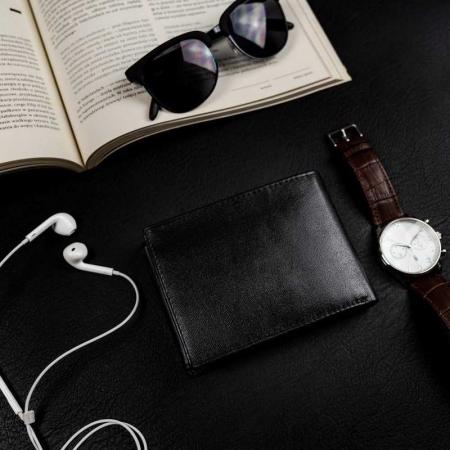 Set cadou barbati, portofel si curea din piele naturala, Rovicky, PORMG905, cu RFID2