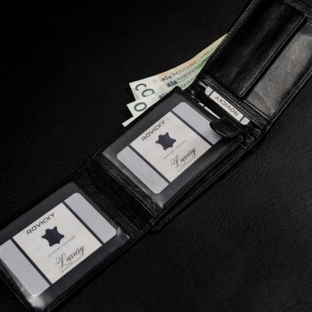 Set cadou barbati, portofel si curea din piele naturala, Rovicky, PORMG905, cu RFID5