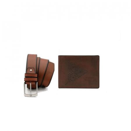 Set cadou barbati, portofel si curea din piele naturala, Wild, PORM808