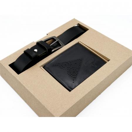 Set cadou barbati, portofel si curea din piele naturala, Wild, PORM804 [6]