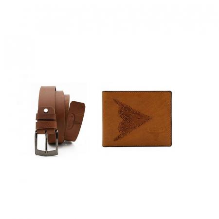 Set cadou barbati, portofel si curea din piele naturala, Wild, PORM805