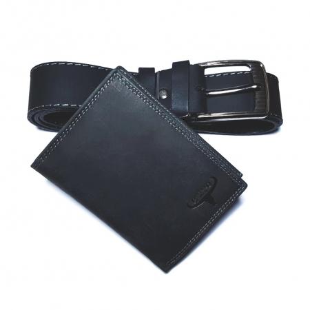 Set cadou barbati Wild BuffalO, portofel si curea din piele naturala, PORMG900