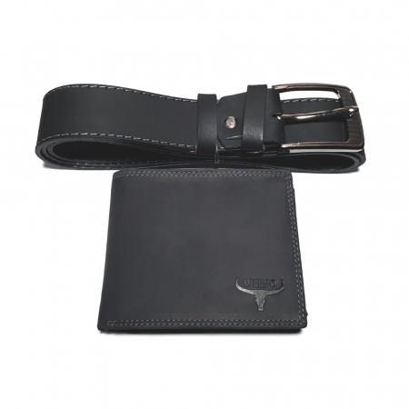 Set cadou barbati Wild BuffalO, portofel si curea din piele naturala, PORMG902