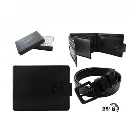 Set cadou barbati, portofel si curea din piele naturala, Rovicky, PORMG903, cu RFID12