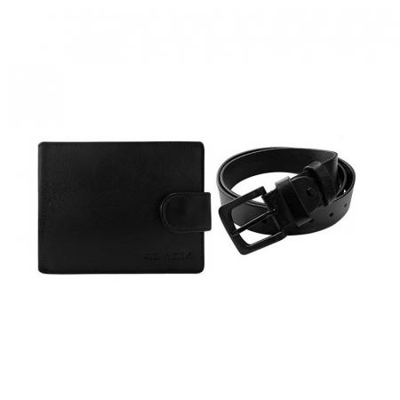 Set cadou barbati, portofel si curea din piele naturala, Rovicky, PORMG903, cu RFID