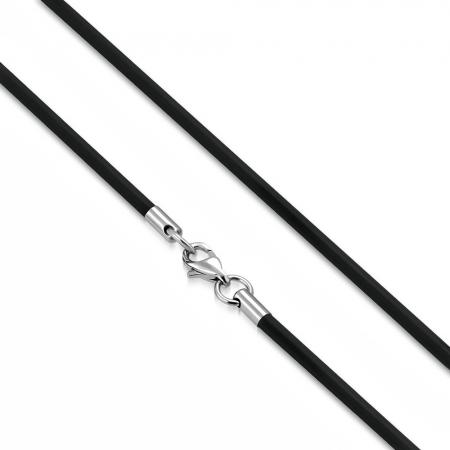 Snur cauciuc negru si inox 50 cm si 2,5 mm LSL0330