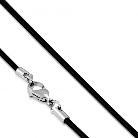 Snur cauciuc negru si inox 50 cm si 2 mm LSL0004