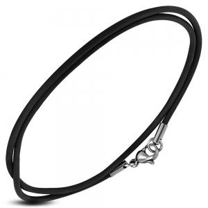 Snur cauciuc negru si incuietoare din argint 925 lungime 55 cm