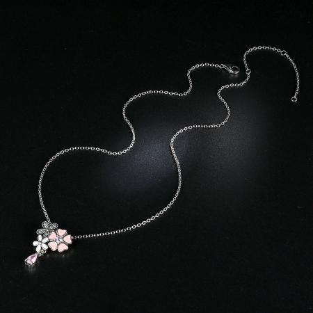 Talisman argint 925 cu lant, floricele si zirconii albe - Be Nature CST00022