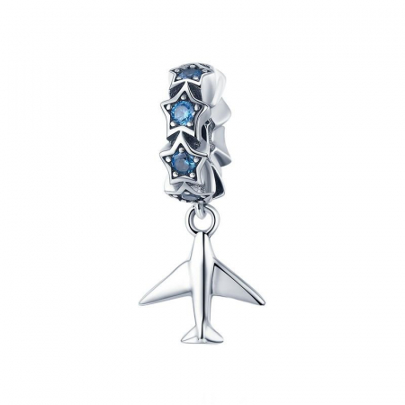 Talisman argint avion cu zirconii