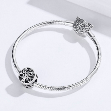 Talisman argint cu copacul vietii si Forever & Family mesaj de dragoste [3]