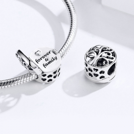 Talisman argint cu copacul vietii si Forever & Family mesaj de dragoste [1]