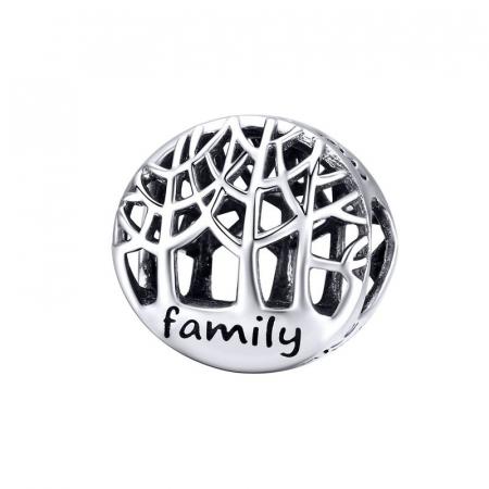 Talisman argint cu copacul vietii si mesaj Family