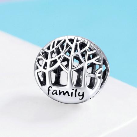 Talisman argint cu copacul vietii si mesaj Family [1]